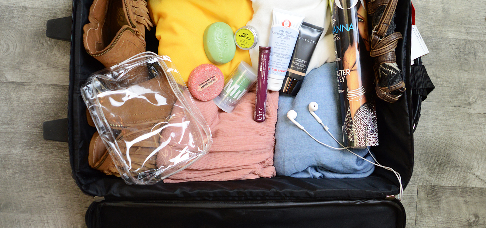 open suitcase with contents