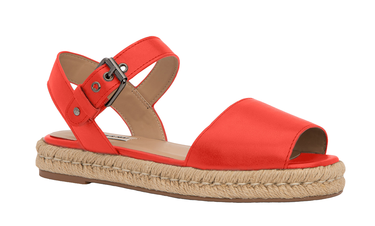 red vegan sandals