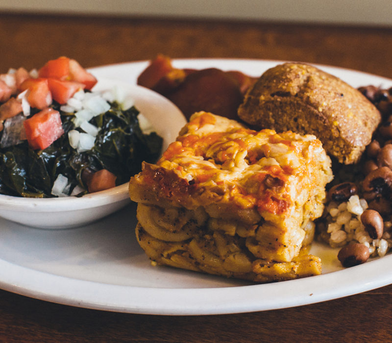 vegan soul food on a plate