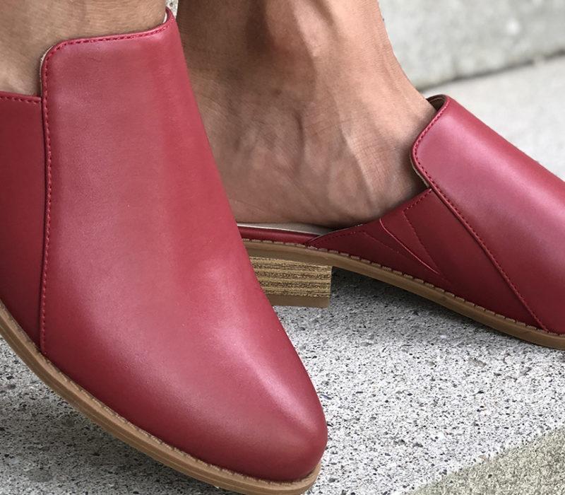 red vegan shoes